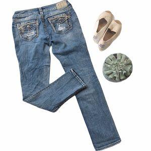 Silver Jeans • Suki Ripped Flap Slim Jeans Sz 29